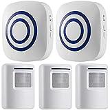 Motion Sensor Alarm, Wireless Security Driveway Alarm, Home Motion Sensor Detect Alert with 3 Sensor and 2 Receiver,38 Chime