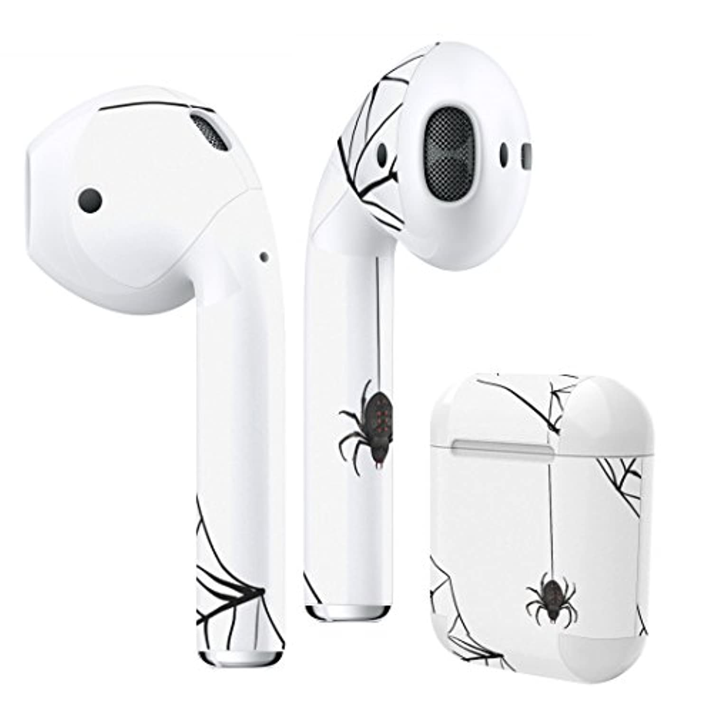 Air Pods 専用 デザインスキンシール airpods エアポッド apple アップル イヤフォン イヤホン カバー デコレーション アクセサリー エアフリー デコシール クモ 蜘蛛の巣 白 黒 010224