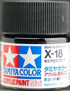 タミヤカラー アクリルミニ X-18 セミグロスブラック 光沢