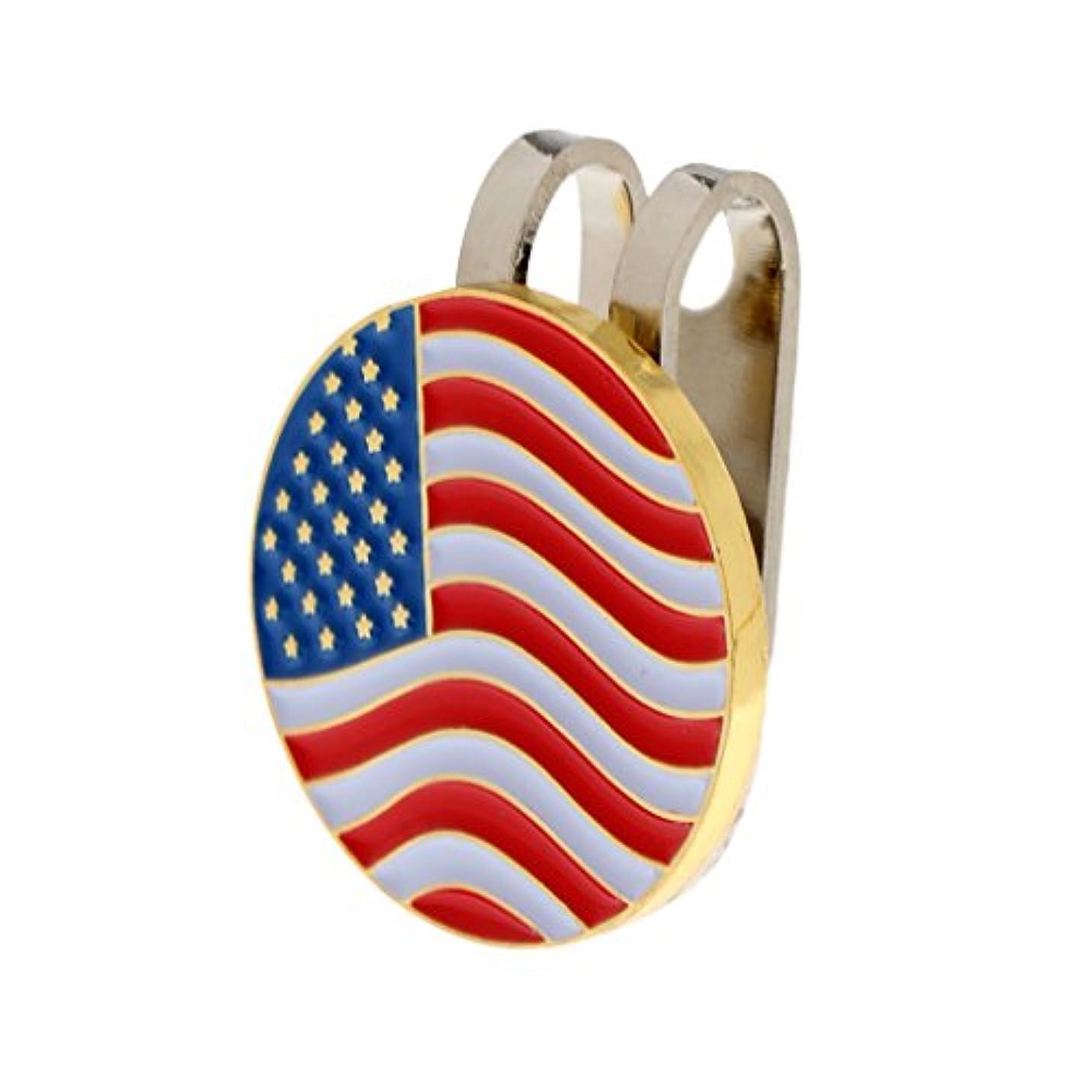 安価なオレンジ電報ゴルフ用 アメリカ旗のデザイン ハットクリップ付き マグネット ボールマーカー