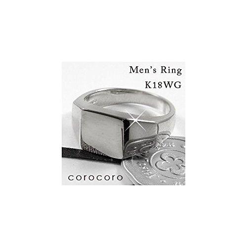 印台シンプルメンズリングK18WGホワイトゴールド金リング指輪