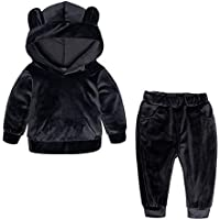 RongCun Kids Baby Boys Girls Solid 2 Piece Sweatsuit Tracksuits Velvet Clothes Set Outfit Pullover Hoodie Sweatpant