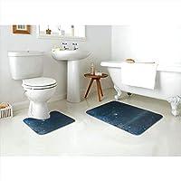 Britnears星空セット トイレマット 拭けるトイレマット バスマット 浴室足ふきマット 速乾 強力吸水 洗える 滑り止め ホワ,新品フロアマット 2点セット