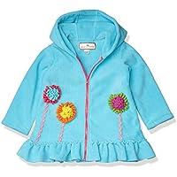 American Widgeon Girls' Hooded Flower Applique Fleece Coat, Turquoise-TUR