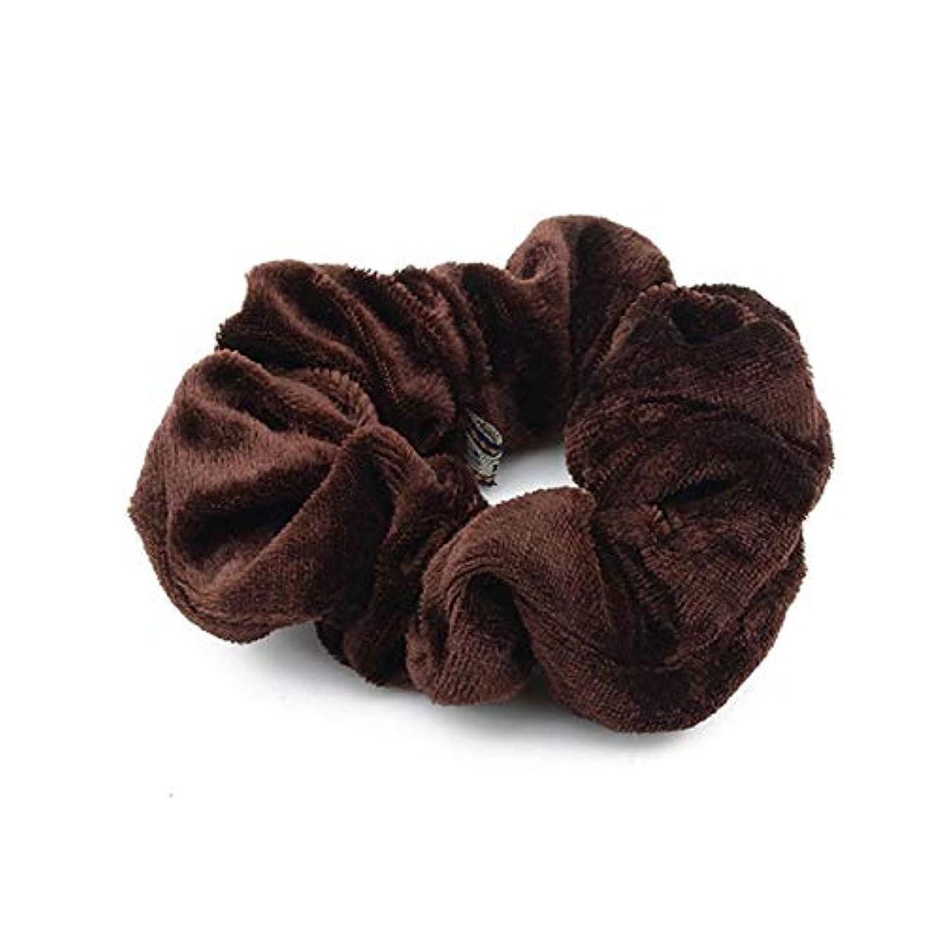 ギャラリー別の偏心Hairpinheair YHM 5ピースベルベットソリッドカラー弾性ヘアバンドポニーテールホルダースクランティネクタイヘアゴムバンドヘッドバンド(ディープブルー) (色 : Dark Brown)