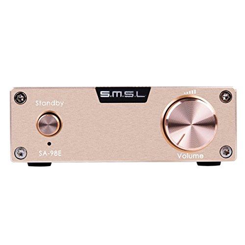 SMSL SA-98E デジタルアンプ+電源アダプタ 2160W TDA7498ステレオ トップHIFI (ゴールド)