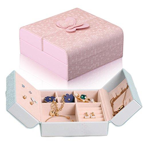 iSuperb ジュエリーボックス ジュエリーケース アクセサリーケース アクセサリーポーチ プチジュエリーケース かわいいポーチ型 携帯用 ピアス・イヤリング・ネックレスを収納 (ピンク)