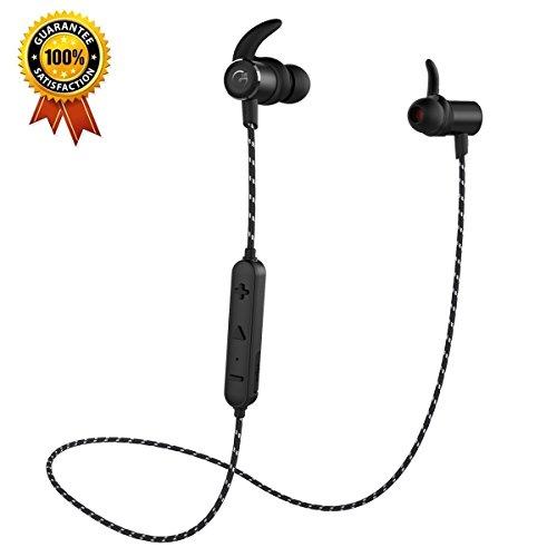 Gvoears Bluetoothワイヤレスイヤホン(アップグレードバージョン)|重低音|HIFI|スポーツランニング仕様|カナル型|メタル|ナイロンケーブル … (ブラック)