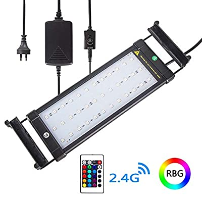 Xcellent Global LED Aquarium Fish Tank Light with Extendable Brackets 4 Modes 16 Color Remote Controlled Dimmable RGBW LED Light