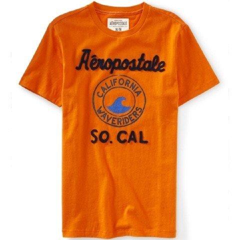 (エアロポステール) AEROPOSTALE エアロポステール メンズ アップリケ ロゴ 半袖 Tシャツ カットソー [オレンジ] 並行輸入品 Sサイズ