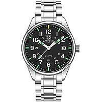 Whatsko Men's Tritium Watch Green Light Sapphire Glass Stainless Steel Band Analog Quartz Luminous Watches (Model-Carnival)