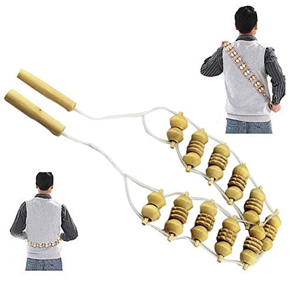 解き明かす発音吐き出すバックローラーマッサージャー、ウッドホイールバックウエストケアマッサージャーローラーベルトベルトラインマッサージャー、フルボディボール伝統的なローリング