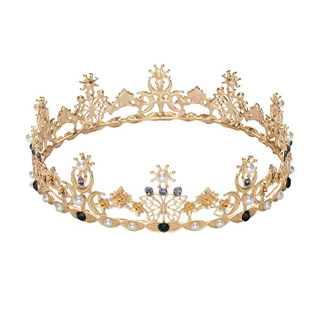 ユニークな慣性こっそりLURROSE Baroque vintage crown rhinestone queen king tiaras for wedding bridal