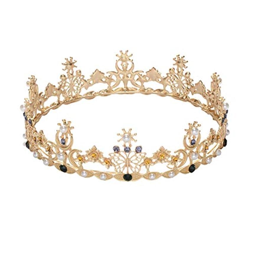 二十想定ヒューズLURROSE Baroque vintage crown rhinestone queen king tiaras for wedding bridal