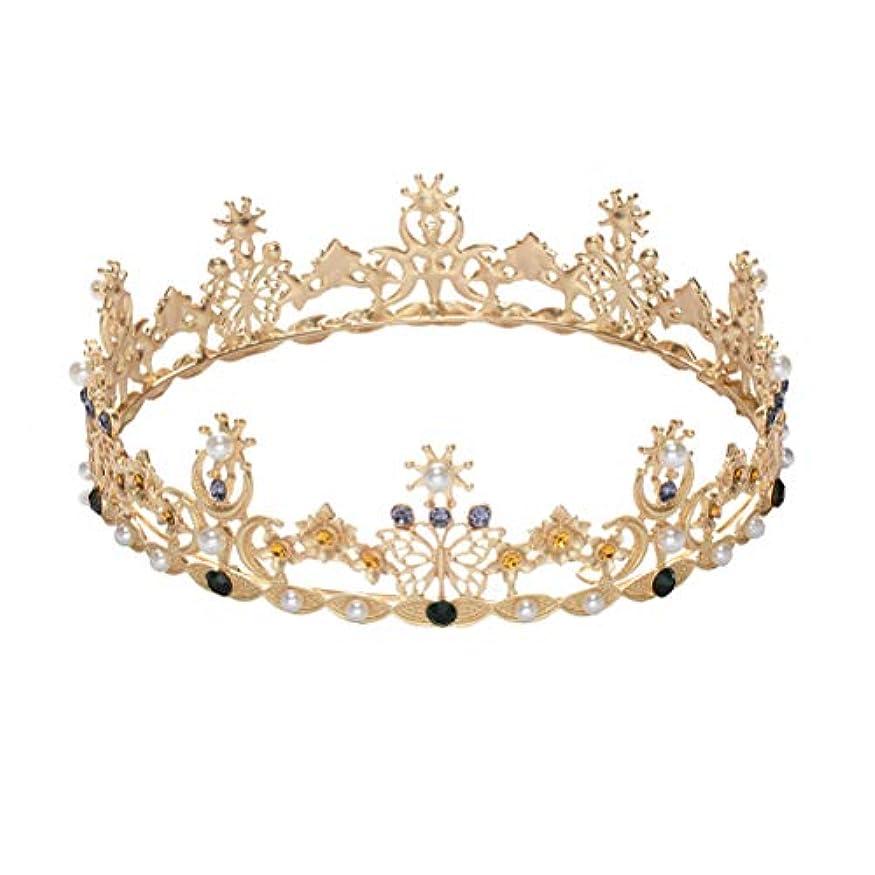 モナリザ安心合わせてLURROSE Baroque vintage crown rhinestone queen king tiaras for wedding bridal