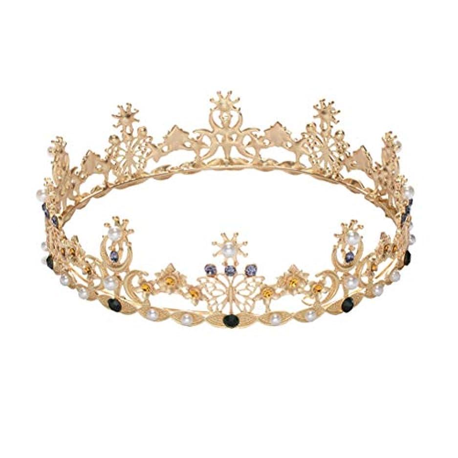 夫婦アンタゴニスト学者LURROSE Baroque vintage crown rhinestone queen king tiaras for wedding bridal