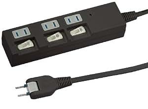 ヤザワ 個別スイッチ付節電タップ3個口1m黒   HBKS331BK