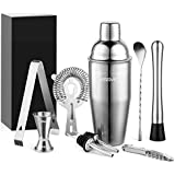 Yissvic 9Pcs Cocktail Shaker Set Cocktail Shaker Cocktail Kit Professional 700ml Cocktail Shaker Cocktail Set Stainless Steel Blender