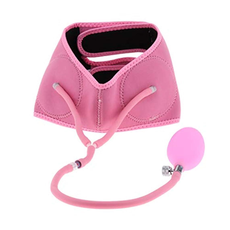 リスキーなバウンドボイコットFenteer 全3色 リフトアップベルト 小顔 矯正 顔痩せ 美顔 サポーター 膨脹可能 通気性 簡単脱着 - ピンク