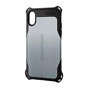 エレコム iPhone X ケース カバー 衝撃吸収 【 落下時の衝撃から本体を守る 】 ZEROSHOCK スタンダード 衝撃吸収 フィルム付 シルバー PM-A17XZEROSV
