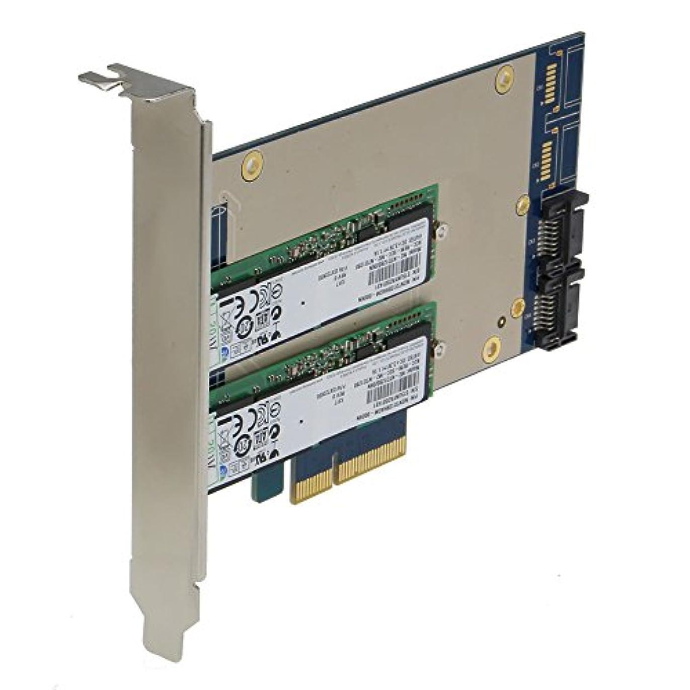 偽善者透過性コンソールSEDNA – PCIEデュアルM。2 SSD SATA 6 G 4ポートRaidアダプタwith HyoperDuoハードディスク加速度関数(SSD not included)