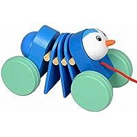 素敵な木製プッシュ&玩具はプル一緒にワゴン車キャタピラーランダムな色引き