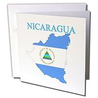 フローレンマップの世界でエキゾチックアウトライン–のイメージマップでのニカラグアフラグカラーwith国名前–グリーティングカード Set of 6 Greeting Cards