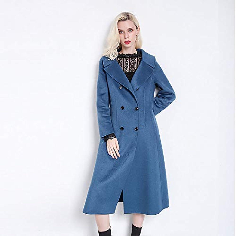 スリラーコロニアル正確にウールコート、秋と冬の新しいコート両面ウールコートレディースジャケットレディース?コートレディースウインドブレーカージャケット,ブルー,XL