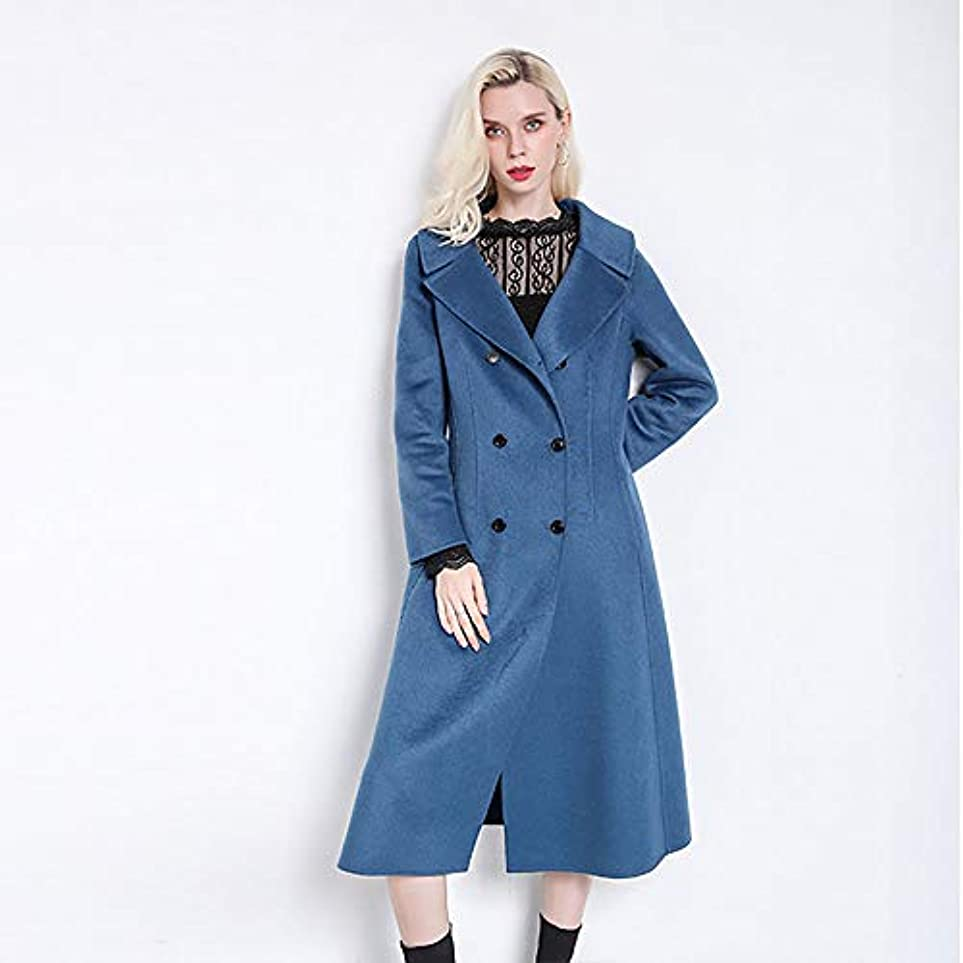 偽善共感する母性ウールコート、秋と冬の新しいコート両面ウールコートレディースジャケットレディース?コートレディースウインドブレーカージャケット,ブルー,XL