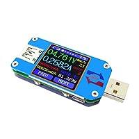 UM25C/UM25 USB電圧電流テスター USB 2.0 カラーLCDディスプレイテスター 電圧計 電流計 マルチマーター バッテリー 充電器 ケーブル インピーダンス測定 容量テスター BTバージョン (UM25)