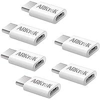 【6個セット】 USB-C アダプタ ARKTEK Micro USB → USB Type C変換 アダプタ コネクター コンバーター 高速データ転送 充電 MacBook 2017 Chormebook Pixel Sony XZ2 他対応 (ホワイト)