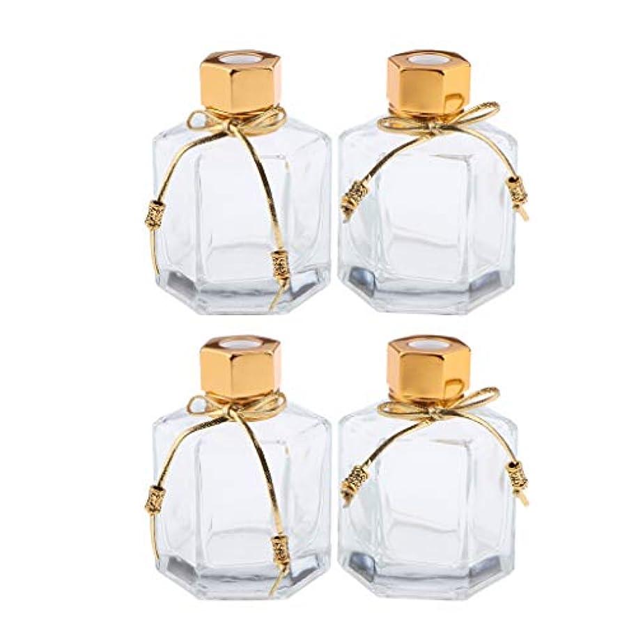 日光特徴づける幸運な4個入り 香りディフューザーボトル 香水瓶 ガラスボトル 空 ガラス容器 100ML方形