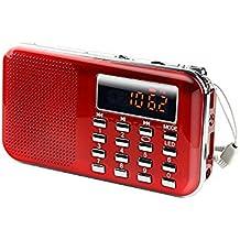 Radioddity L-908 Mini Digital FM LCD Radio Speaker, Micro SD/TF USB Disk Speaker MP3 Music Player Stereo, Portable Pocket Novelty Radio Receiver, Handheld CB Radio Transceiver, Red