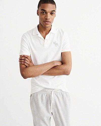 (アバクロンビー & フィッチ) Abercrombie & Fitch ポロシャツ Garment Dye Big Icon Polo - White L ホワイト [並行輸入品]