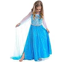 雪の女王 エルサ 風 子供用 ドレス 5点セット(ドレス ティアラ 魔法の杖 ピアス 指輪) (110)