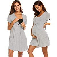 Ekouaer Nursing Dress,Maternity Nightgown Labor Delivery Gowns Hospital Breastfeeding Dress
