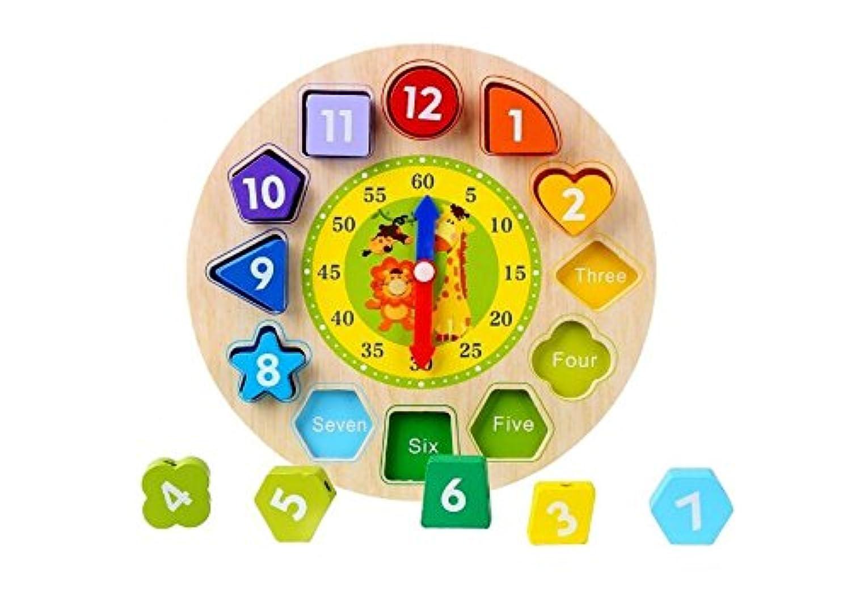 HuaQingPiJu-JP 木製教授時計パズルクロックおもちゃ教育玩具
