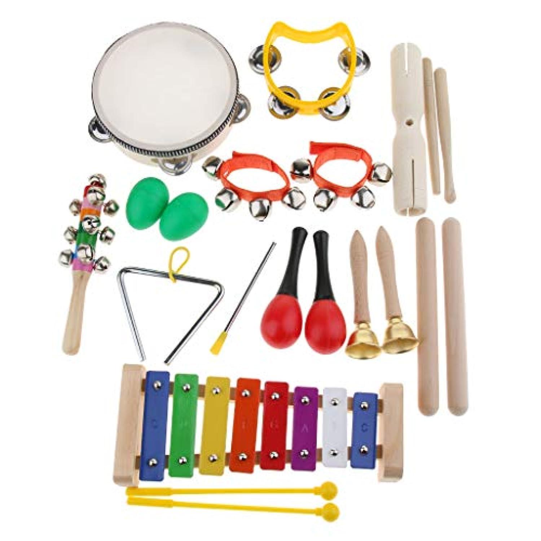 B Baosity パーカッション 楽器おもちゃ 打楽器セット ハンドルベール 木琴 タンバリン 収納バッグ付き 11種