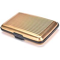 Women Men Waterproof ID Credit Card Wallet Holder Aluminum Metal Pocket Case .* Gold