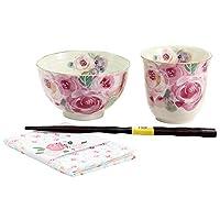 美しい花々が描かれた飯碗湯呑。 百花繚乱 飯碗湯呑 ピンク(ハンカチ付) 03735 〈簡易梱包