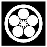 カッティングステッカー 家紋16 丸に梅鉢 20cm (白)
