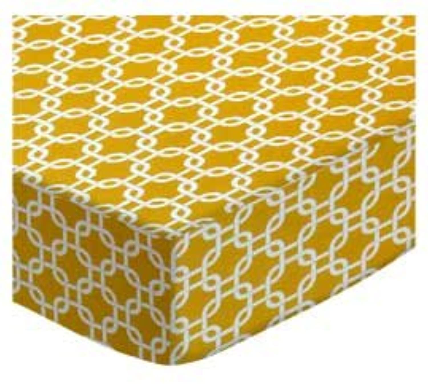 SheetWorld Fitted Cradle Sheet - Mustard Yellow Links - Made In USA by sheetworld