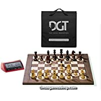 DGT USB Walnut e-Board with Timeless pieces - DGT 3000 and carrying bag included chess boar5d