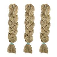 ヘアエクステ 編み込み 三つ編み ジャンボ ブレーズ 髪飾り 付け毛 かつら ハロウイン 変装 男女兼用 3本セット (亜麻色)