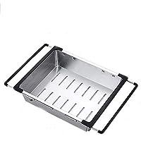 排水ラックシンクキッチン収納ラック伸縮式ステンレススチール洗面器