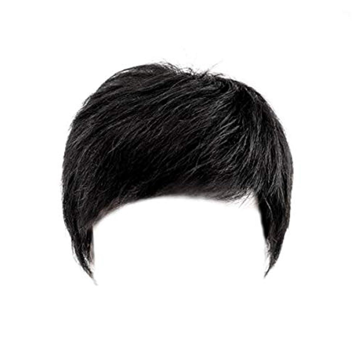 直接外科医午後CN ウィッグ男性ショートヘアメンズかつらハンサム中年ヘッドトップの交換の本格ヘアカバーホワイト髪のセットの帽子 (Color : Black)