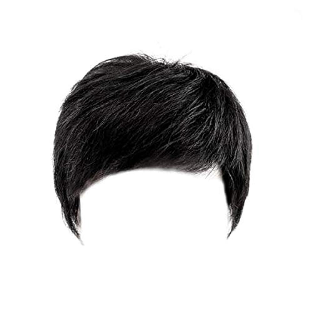 つば飛行機光CN ウィッグ男性ショートヘアメンズかつらハンサム中年ヘッドトップの交換の本格ヘアカバーホワイト髪のセットの帽子 (Color : Black)