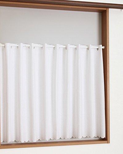 RoomClip商品情報 - 【1月上旬出荷】カフェカーテン透けにくい断熱UVカットレース4163ナイスホワイト幅145x丈90cm1枚入 在庫品
