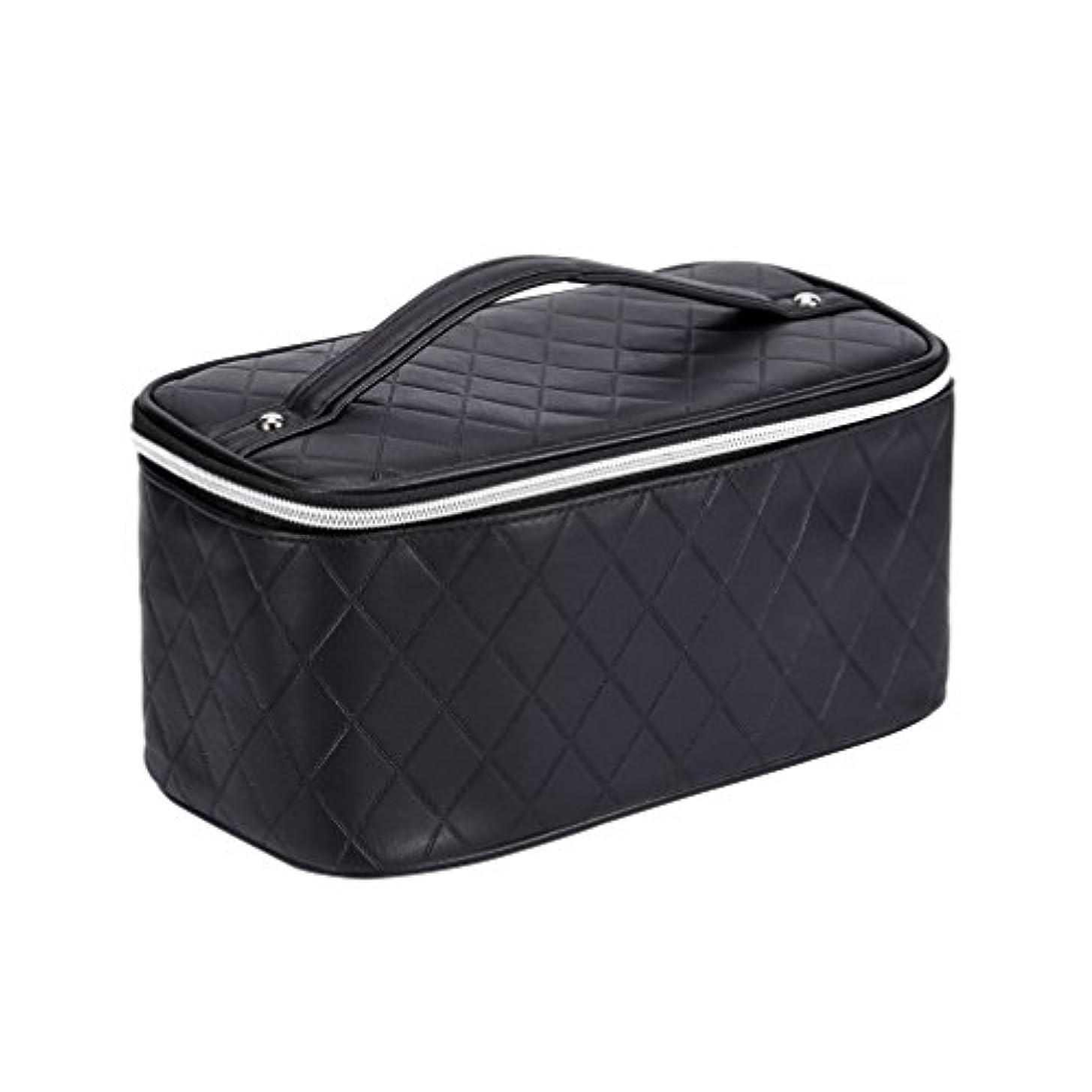 HOYOFO 化粧ポーチ バニティケース 大容量 ブラシ入れ付き 旅行 化粧品 コスメ収納 小物入れ メイクポーチ 多機能 雑貨 ブラック