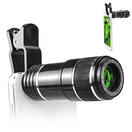 aceyoon 望遠レンズ スマホ ユニバーサル クリップ式 単眼鏡 12倍 ズーム調整可能 撮影範囲大 10 - 1000メートル 望遠鏡 取り付け易い テレスコープ for iPhone Android 汎用 各種スマートフォン対応 運動会 コンサート等に最適